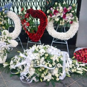 A set of funeral wreath flowers in Nairobi