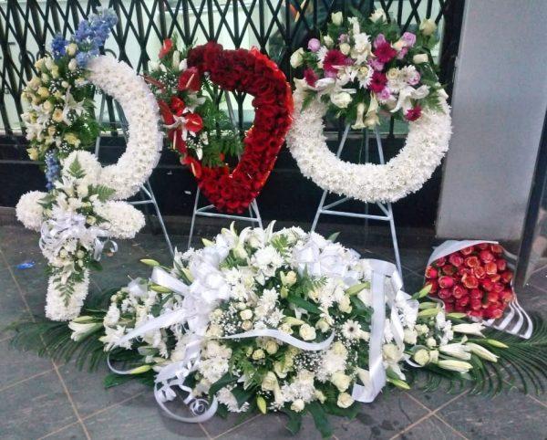 A set of funeral wreath flowers in Nairobi