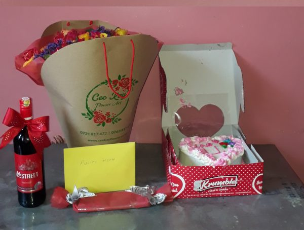 roses+wine+chocolate+cake